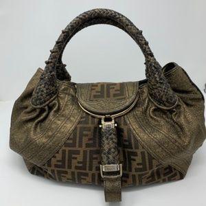 FENDI Zucca Nappa Tortoise Spy Bag Tobacco Handbag